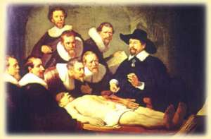 "Rembrandt's ""Anatomy Lesson"" (1632) depicts new enlightenment thinkers curiously studying a dissected human body. Picture courtesy of http://www.maitrise-orthop.com/corpusmaitri/orthopaedic/86_masquelet/masqueletus.shtml"