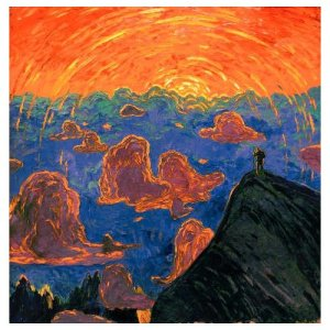 "This is a painting called ""Sunset, Mont Blanc"" and was painted by Wenzel Hablik in 1906."