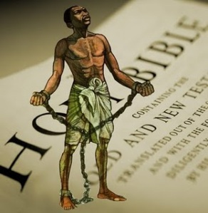 Shown: A slave and the Holy Bible. What role does religion play in narratives on the slave trade?