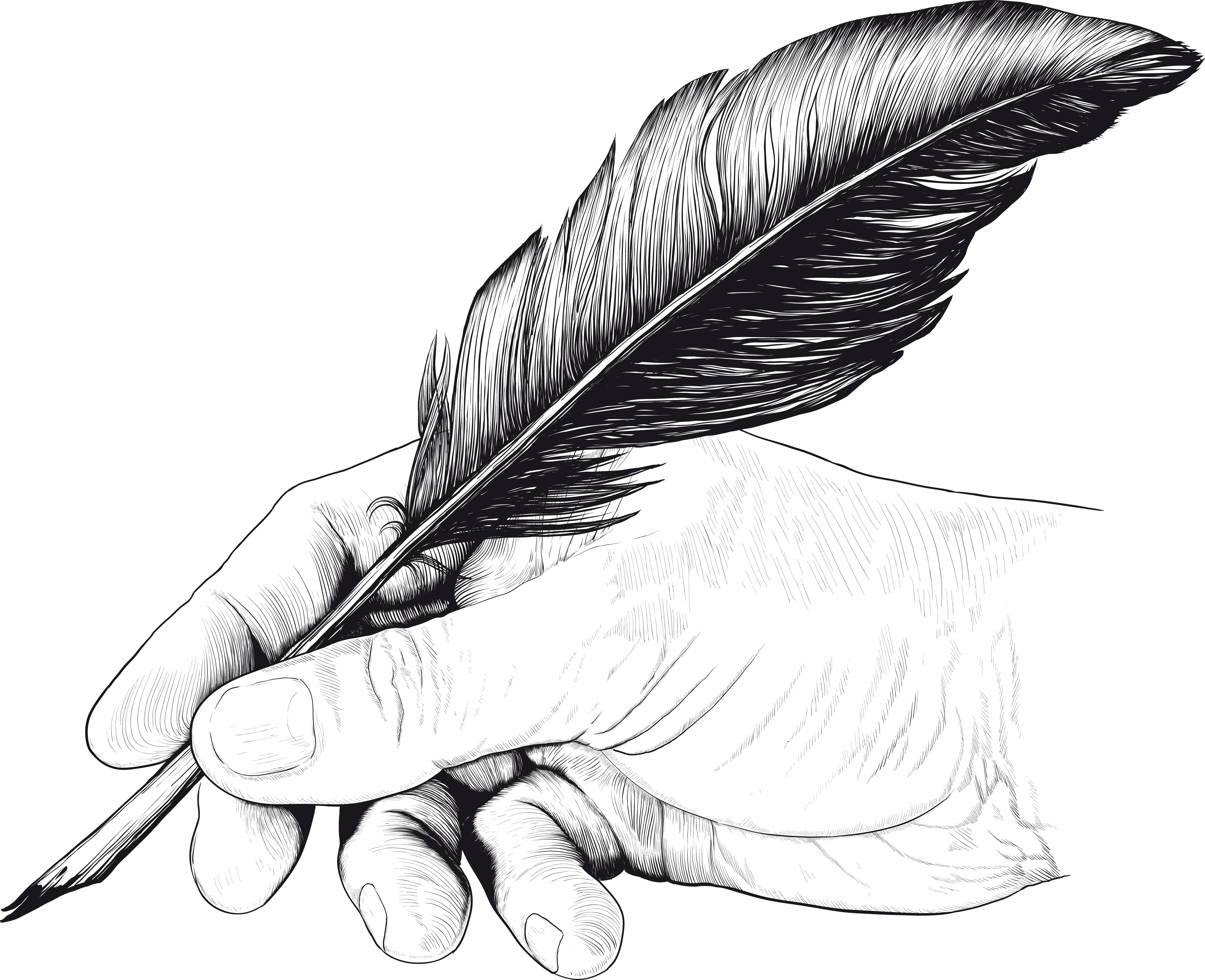 Contemporary Poem About Nature Vintage Drawing Of Hand With Feather Pen