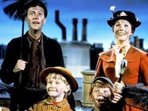 Bert, Jane, Michael, and Mary Poppins on rooftop in London