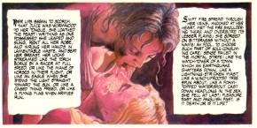 Bolton's illustration of Laura taking goblin fruit juice from Lizzie