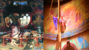On left: William Hunt's Lady of Shalott. On right: Rapunzel paints in Tangled.